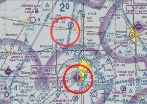 Close up of TFR Flight Maps