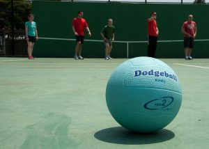 Upclose Photo of Blue Dodgeball on Court