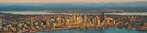 Downtown Seattle Skyline During Flight Instruction