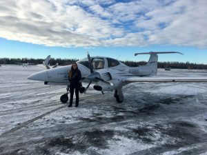 Twin Star DA42 on Boeing Field's Snow Covered Ramp