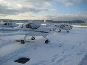 Snow-covered Aircraft Ramp on Seattle's Boeing Field