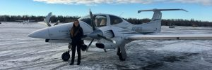 Twin Star DA42 on Boeing Field's Snow Covered Ramp