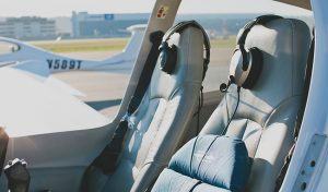 Inside Aircraft with Seats and Headset